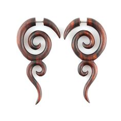 "Fake Gauge Earrings - Wood Tribal Earrings Fake Piercing - Sono Wood ""Spiral Tribe"" Earrings - No Holes Barred Wood Jewelry - pinned by pin4etsy.com"