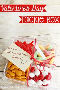 Make your own Valentine's Day gift with these easy Valentine's Day cards! Try this tackle box full of sweet treats!