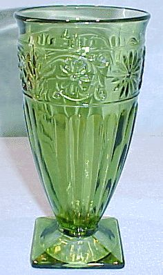 Green Depression Glass footed tumbler, Love it!