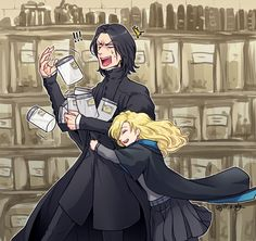 "severus-snape-my-eternal-prince: "" Artwork by ジル@ついったー ( jill_s_alg). Awww! So cute!!! :) """