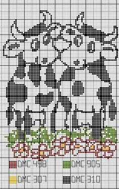Cross Stitch Cow, Cross Stitch Boards, Counted Cross Stitch Patterns, Pixel Crochet Blanket, Afghan Crochet Patterns, Filet Crochet, Motifs Animal, Pattern Pictures, Knitting Charts