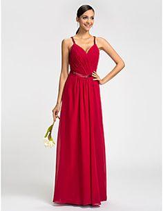 Sheath/Column V-neck Spaghetti Straps Floor-length Chiffon Bridesmaid Dress