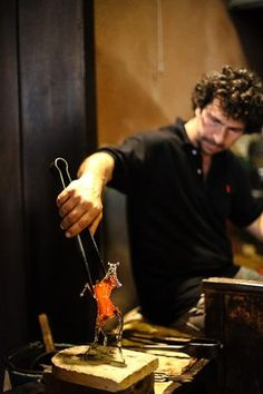Glass blowing demonstration in Venice, Italy