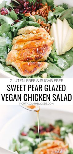 This sugar free, gluten-free, vegan chicken salad is a game changer when it comes to easy, plant-based dinners. Under 30 minutes. Delicious and healthy! Vegan Dinner | Meat Alternative | Chicken Substitute | Summer Salad | Sweet and Savoury | Vegetarian | No Meat | Dairy Free | Sugar Free | Clean Eating | Plant Based | Pears | Anjou Pears | Pear Glaze | Pear Glazed | Cranberry Salad | Pecan Salad | Vegan Chicken Salad, Healthy Salads, Healthy Recipes, Dairy Free, Gluten Free, Tart Taste, Cranberry Salad, Plant Based Eating, Game Changer