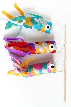 ④トイレットペーパーの芯で鯉のぼり