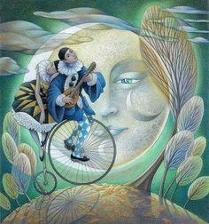 Art And Illustration, Illustrations, Sun Moon Stars, Sun And Stars, Clowns, Pierrot Clown, Luna Moon, Moon Magic, Beautiful Moon