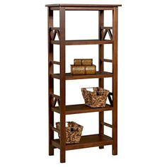 Titian Bookcase In Tobacco Brown - The Titian collection has a simple, yet eye-catching design that is matched with incredible durability. This bookcase features four shelves that provide ample storage and display space. - home office decor ideas 4 Shelf Bookcase, Bookshelves, Wooden Bookcase, Antique Living Rooms, Nebraska Furniture Mart, Titans, Discount Furniture, Credenza