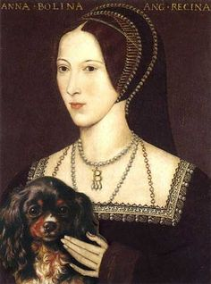 Anne Boleyn with her dog Purkoy, who died a few months later.