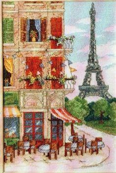 Parisian Street Scene by Maria Diaz, magazine chart (project box) Cross Stitch Bookmarks, Cross Stitch Art, Beaded Cross Stitch, Counted Cross Stitch Kits, Cross Stitch Designs, Cross Stitching, Cross Stitch Embroidery, Cross Stitch Patterns, Craft Museum