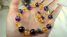 CÉLEST Crystals Melody of Natural Citrine Amethyst Bracelet Earrings Sterling Silver Set U$80 Click link to Buy It Now! - https://www.etsy.com/listing/240686461/celest-crystals-melody-of-natural?ref=shop_home_active_1