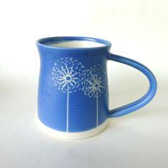Sgraffito Dandelion Mug in Blue by Jo Walker Ceramics. Made in Scotland.