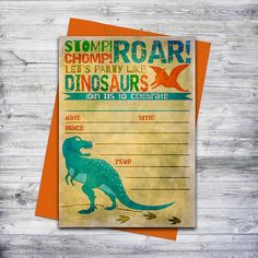 This instant download dinosaur invitation is perfect if your in a rush!  Just download, print, and hand write your event details.  #dinosaur #partyideas