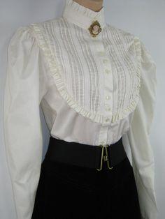 LAURA ASHLEY Vintage Edwardian Style High Neck Blouse by VINTAGELAURAASHLEY