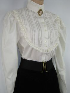 LAURA ASHLEY Vintage Edwardian Style High Neck Blouse by VINTAGELAURAASHLEY
