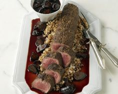 Licorice-Dusted Ostrich Loin with Farro and Figs Recipe (Photo courtesy of Tramonto Steak & Seafood) Wild Game Recipes, Other Recipes, Fall Recipes, Meat Recipes, Dinner Recipes, Ostrich Meat, Dried Fig Recipes, Kinds Of Steak, Steak And Seafood