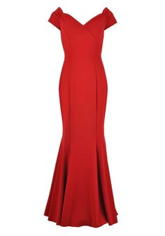The Pretty Dress Company Fatale Bardot Neck Long Dress, Red | McElhinneys Department Store