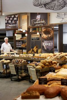 Tiers of freshly baked, artisanal style bread recreate the traditional bakery experience.