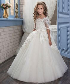 eBay  Sponsored 2018 New Flower Girl Dress Communion Party Prom Princess  Pageant Bridel Wedding Little fd54cb99da49