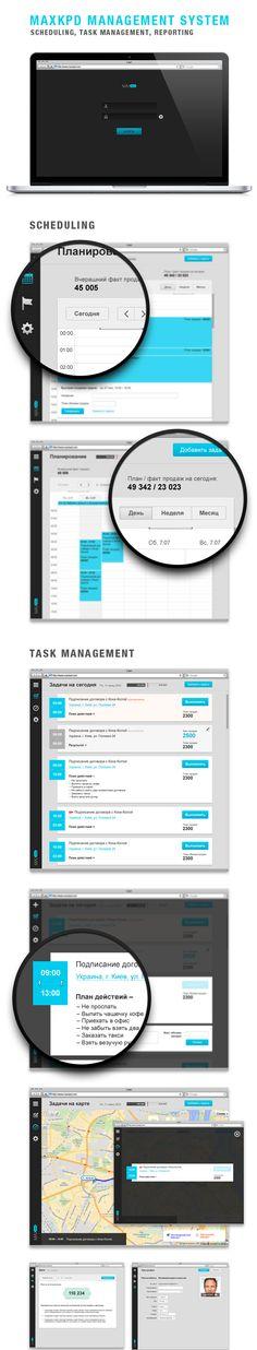 Maxkpd Management System by Oleg Kryval, via Behance TAGS: #calendar #maps
