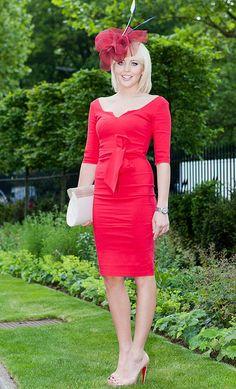 Lydia bright red dress ascot