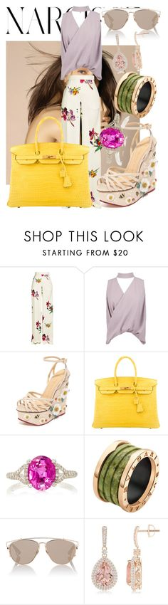 """""""Show them what you can do"""" by nawalmarhoume ❤ liked on Polyvore featuring Etro, Boohoo, Charlotte Olympia, Hermès, Martin Katz, Bulgari and Christian Dior"""
