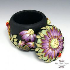 Purple Flower Pot Polymer Clay by KateTractonDesigns on Etsy, $65.00