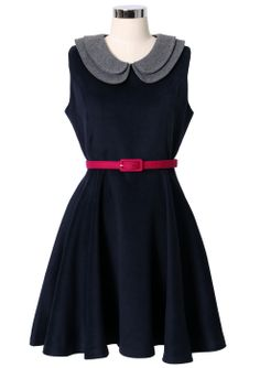 Double Peter Pan Collar Sleeveless Navy Dress - sale - Retro, Indie and Unique Fashion