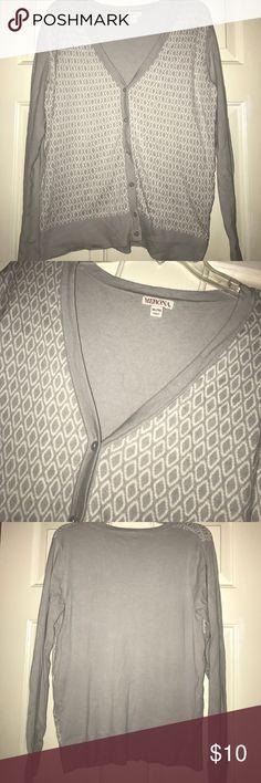 Gray & White V-Neck Cardigan Gray & white v-neck button down cardigan. Perfect to throw over a tank or dress Merona Sweaters V-Necks
