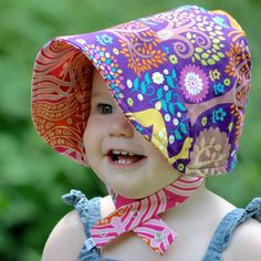UB2 | spring glen in jewel tones | a modern unique summer sun hat sun bonnet that babies CAN'T take off | made in USA | machine washable