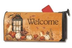 Autumn Lantern Mail Wraps® Mailbox Covers by Magnet Works Ltd., This fall design has coordinating outdoor standard and garden size decorative flags. Many other designs are available for your seasonal and holiday outdoor decorating. Magnetic Mailbox Covers, Unique Mailboxes, Metal Mailbox, Holiday Themes, Flag Decor, Vivid Colors, Screen Printing, Lanterns, Wraps
