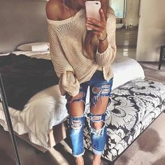 cable knit + ripped jeans