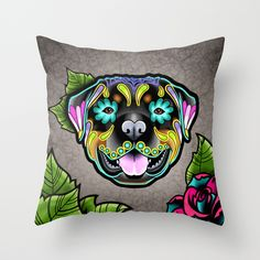 Rottweiler Day of the Dead Sugar Skull Dog Throw Pillow by Pretty In Ink - $20.00