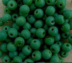 25g Indian glass beads, opaque green, 5mm