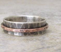Men's Rustic Spinner Ring Mens Wedding Band Unique by SilverSmack