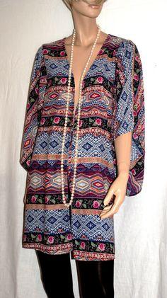 """Bright & Colorful Summer.. Maxi Cardigan Kimono Cover Up Branded """"Forever 21"""" Gipsy Donna Lungo Multicolore Hippie Boho di…"""
