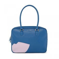 Air Force Blue Abstract Lip Large Jenny: Pucker up with this large Jenny shoulder bag in Air Force Blue smooth leather. Complete with internal pockets to store all your necessities and Lulu's signature Abstract Lip in Spring Summer '15's pastel pink hue, this vibrant designer handbag is the perfect piece to liven up any outfit.  - Visit Lulu Guinness at http://www.luluguinness.com/