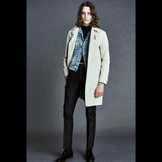 MENS SS16 LOOK 11 | Light beige double faced cotton raincoat.  Pale punk painted western denim jacket.  Black silk cotton textured rib mock neck with white tipping.  Black mohair tonic tailored sport trouser.  Black tejus thin classic belt with palladium belt and bar.  Black shiny calf leather Gloucester loafer.