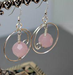 Pink Jade Large Gemstone Earrings Pink Jade Wire Wrapped Dangle Earrings One of a Kind Jade Earrings.