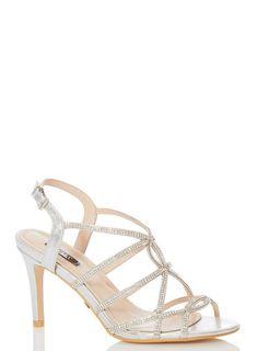 c02c73294  Quiz Silver Shimmer Diamante Sandals