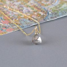Tiny Pyrite Pyramid Necklace Gold or Sterling Silver by DJStrang