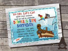 Pirate Map Birthday Invitation, Pirate party, Pirate Ship invitation, Treasure Map, Custom Printable Invitation for Boys Birthday Party by…