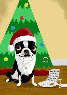Boston Terrier holiday Christmas print by rubenacker on Etsy, $18.00