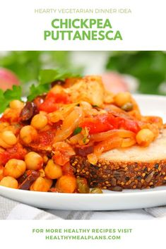 This Chickpea Puttanesca recipe is completely and a great option as it stores in the fridge for up to 5 days! Vegetarian Dinners, Vegan Vegetarian, Chickpea Recipes, Vegan Recipes, Kalamata Olives, Recipe Details, Italian Seasoning, Chickpeas, Chana Masala