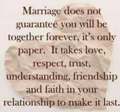 Love  respect, trust, understanding , friendship & Faith to make a marriage last......