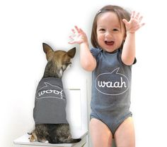We might need to do these dog and baby onesies for our little guys,