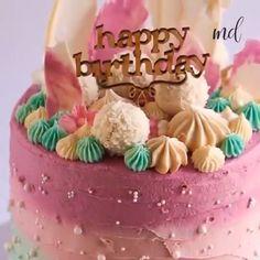 Consider this your next birthday cake!😋😍 desserts for teens CAKE TUTORIAL Vanilla Birthday Cake Recipe, Easy Birthday Cake Recipes, Elegant Birthday Cakes, Cookie Cake Birthday, Pretty Birthday Cakes, Homemade Birthday Cakes, Adult Birthday Cakes, Birthday Cakes For Women, Birthday Cake Decorating