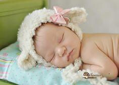 PRE ORDERCustom Lamb Bonnet/Custom Bow Color newborn by ModisteBee, $38.00