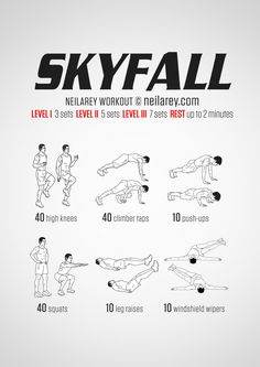 No-equipment Skyfall bodyweight workout for all fitness levels. Print & use.