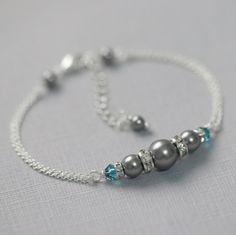 CUSTOM COLOR Swarovski Grey Pearl and Teal (Indicolite) Crystal Bridesmaid Bracelet, Bridesmaid Jewelry, Bridesmaid Gift, Teal Jewelry Set