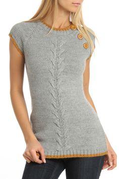 Vertigo Tipped Button Shoulder Sweater In Gray Heather